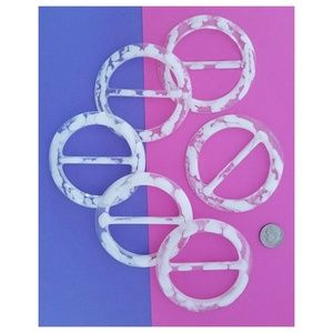 Accessories - 6 pc T-Shirt Slide Buckle Ring Round, White Cloud
